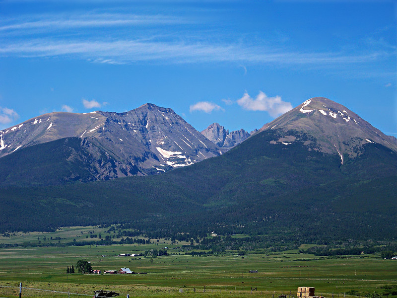Humboldt Peak and the Crestones rise above the Wet Mountain Valley, Colorado