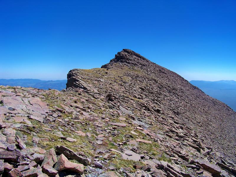 The Humboldt Peak summit from atop the west ridge, Colorado Sangre de Cristo range.