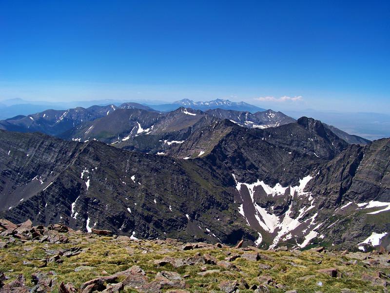 The distant Blanca group seen from the Humboldt Peak summit, Colorado Sangre de Cristo range.