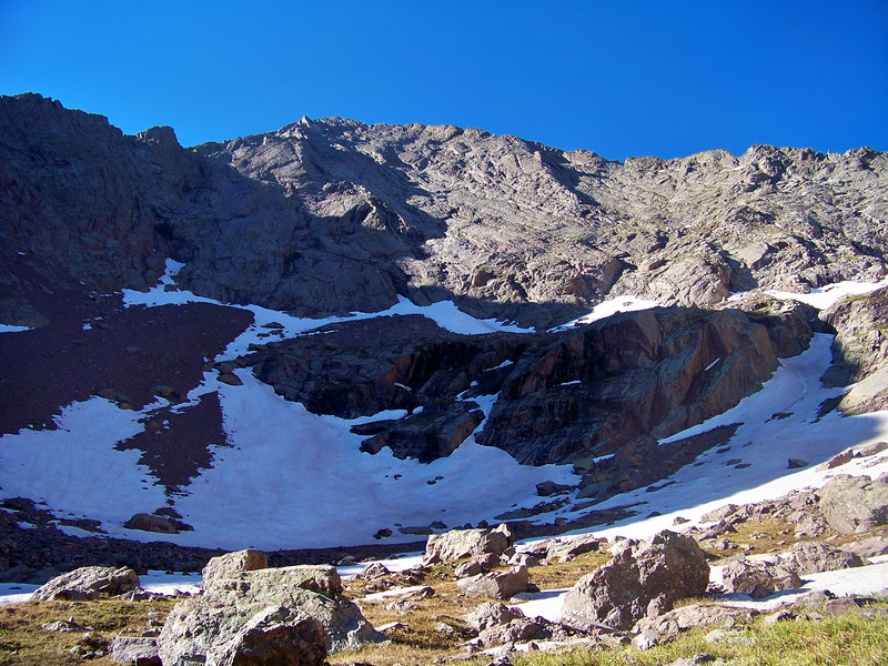 The northwest face of Marble Mountain rises above the South Colony Lakes trail, Colorado Sangre de Cristo range.
