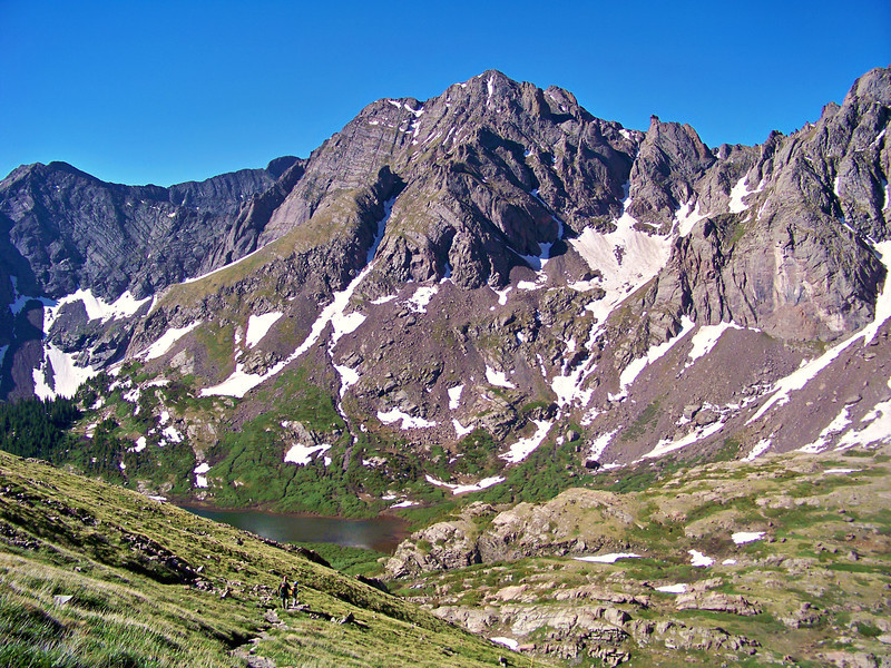 Hikers descend the Humboldt Peak trail toward the South Colony Lakes basin, Sangre de Cristo range.