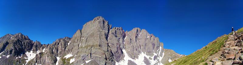 Stopping on the way up Humboldt Peak to admire the mighty Crestones, Colorado Sangre de Cristo Range.