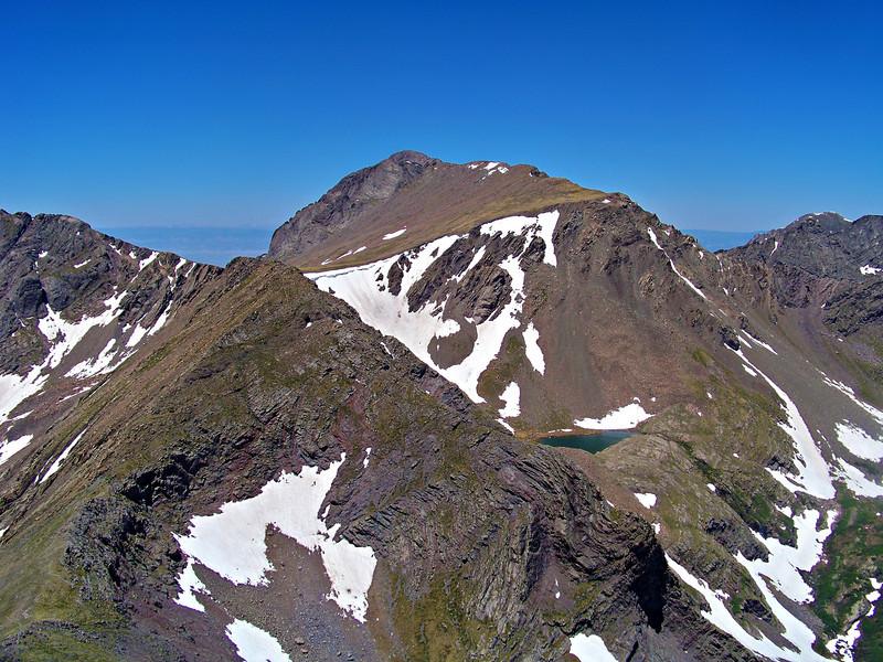 Kit Carson Peak (14,165 ft.) viewed from the west ridge of Humboldt Peak, Colorado Sangre de Cristo range