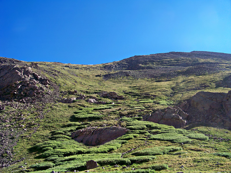 The tiny forms of hikers can be seen on the lush southwest slopes of Humboldt Peak, Colorado