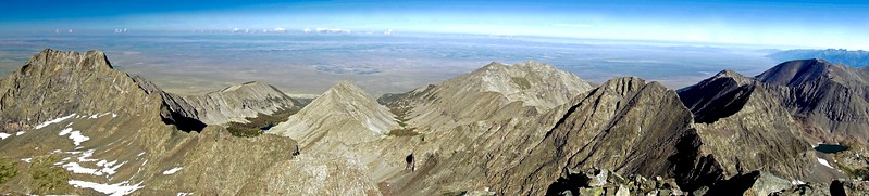 Panoramic view of Little Bear Peak, Ellingwood Point and the San Luis Valley to the west as seen from the summit of Blanca Peak; Colorado Sangre de Cristo Range