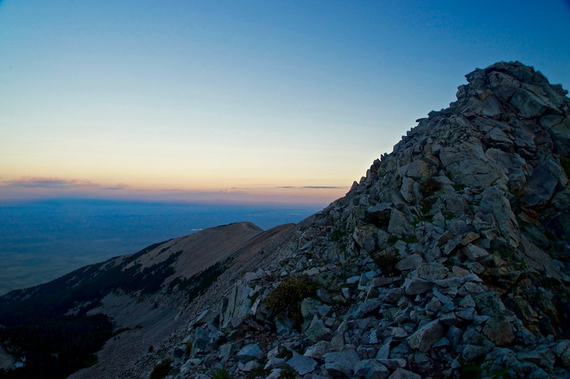 The view west into the San Luis Valley, just before sunrise, from the west ridge of Little Bear Peak; Colorado Sangre de Cristo Range