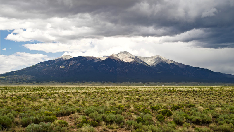 The Sierra Blanca Massif (Little Bear Peak to the right of center) rises 7000 feet over the San Luis Valley; Colorado Sangre de Cristo Range.