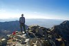 On the summit of Little Bear Peak (14,037 ft.). Colorado Sangre de Cristo Range.