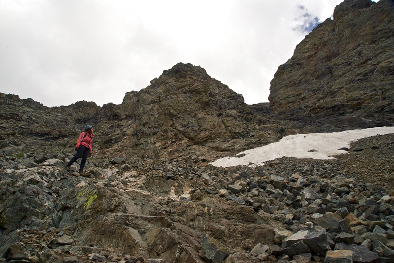"Looking back after descending the treacherous ""hourglass"" gully on Little Bear Peak; Colorado Sangre de Cristo Range"