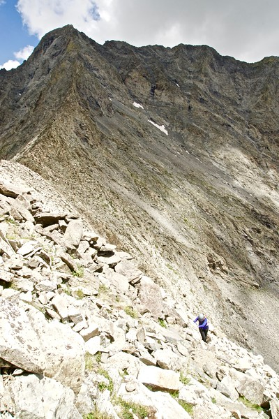 Traversing the steep, mile long south face of Little Bear Peak; Colorado Sangre de Cristo Range