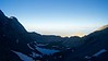 Early morning light touches Little Bear Peak and creeps into the cold Crater Lake basin; Colorado Sangre de Cristo Range