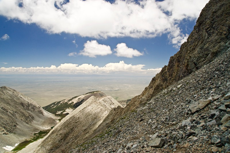 Looking across the south face of Little Bear Peak out to the San Luis Valley to the west; Colorado Sangre de Cristo Range