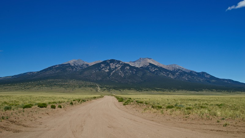The Sierra Blanca Massif (Little Bear Peak to the right of center) as seen from the start of Lake Como Road; Colorado Sangre de Cristo Range.