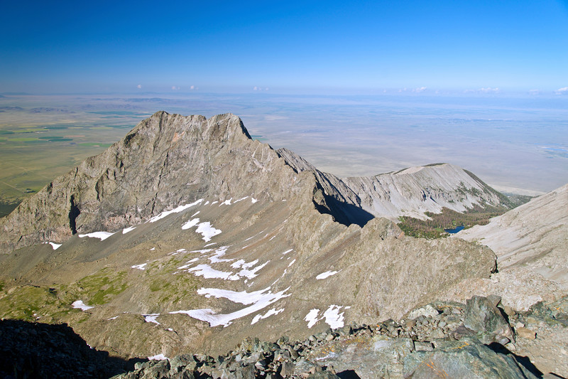 Little Bear Peak and the connecting ridge to Blanca Peak as seen from the Blanca Peak summit; Colorado Sangre de Cristo Range