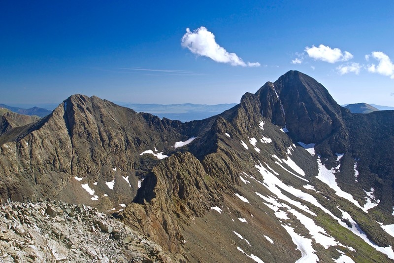 "Blanca Peak, Colorado's 4th highest point, Ellingwood Point and the connecting ridge, ""the great traverse,"" from the Little Bear summit; Colorado Sangre de Cristo Range."