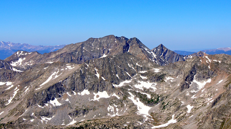 "The sheer east face of the ""Apostles,"" viewed from the summit of Missouri Mountain; Colorado Sawatch Range."