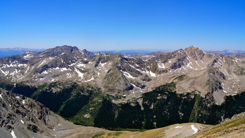 """The """"Three Apostles"""" and Huron Peak as seen from the northwest ridge of Missouri Mountain; Colorado Sawatch Range."""