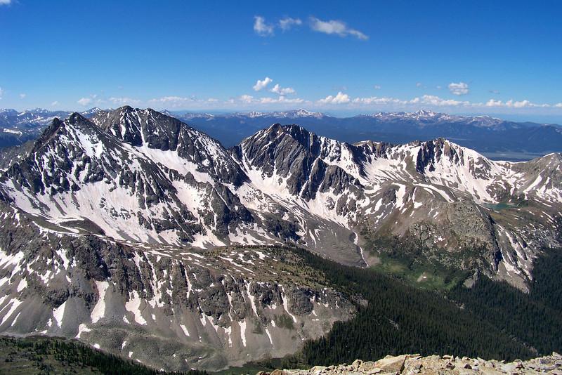 "The ""Three Apostles"" (North Apostle, Ice Mountain and West Apostle) from the Huron Peak summit."