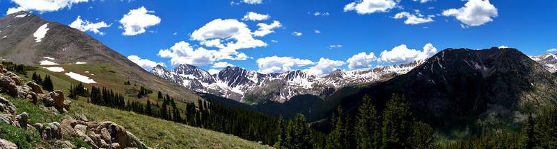 "Panoramic view from the treeline, 11,800 ft:  Huron Peak (left), ""The Apostles"" (center), Granite Mountain (right)"