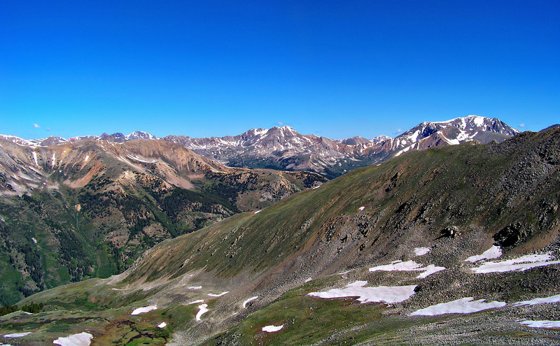 To the north of Huron Peak are LaPlata and Ouray Peaks, Colorado Sawatch Range