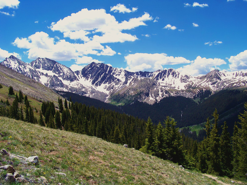 """The """"Three Apostles"""" dominate the view to the south from the Huron Peak trail; Colorado Sawatch Range"""