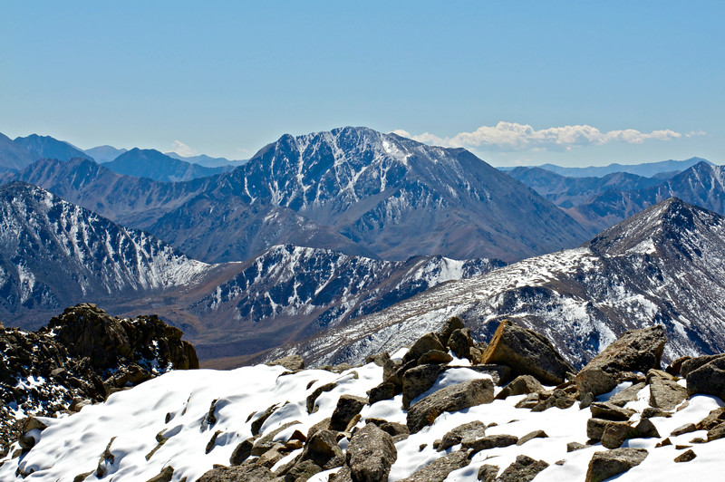 La Plata Peak, Colorado's 5th highest, as seen from the summit of Mt. Massive to the north; Colorado Sawatch Range.