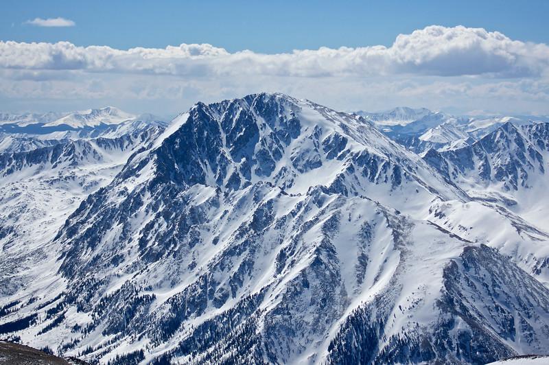Telephoto shot of La Plata Peak (14,336 ft.), taken from the summit of Mt. Elbert in early March.