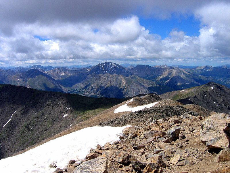 La Plata Peak (Colorado's 5th highest) as seen from the summit of Mt. Elbert (Colorado's highest); Sawatch Range.