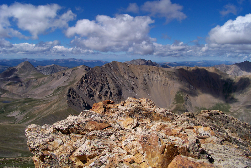 """Missouri Mountain (14,067 ft.), Huron Peak (14,003 ft.) and the """"Apostles"""" viewed from the summit of Mt. Belford"""