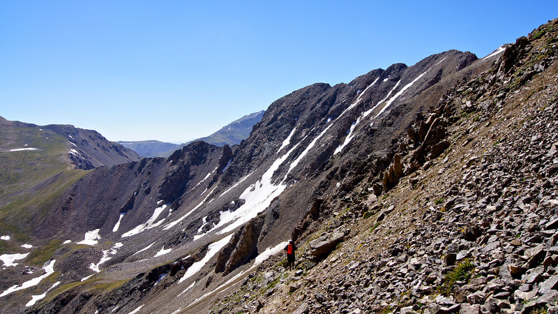 Missouri Mountain's standard route winds up the east slopes to the long northwest ridge traverse; Colorado Sawatch Range.