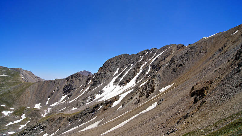Missouri Mountain's northwest ridge.  Can you spot Mt. Harvard in this photo?  Colorado Sawatch Range