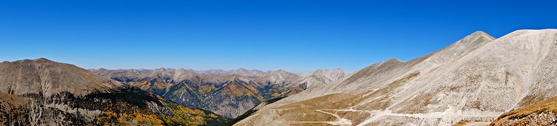 Mount Antero's west face and colorful fall landscape beyond to the north; Colorado Sawatch Range.