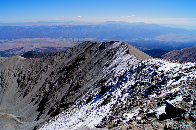 Looking across Mount Antero's east ridge toward the the southern Arkansas Valley; Colorado Sawatch Range.