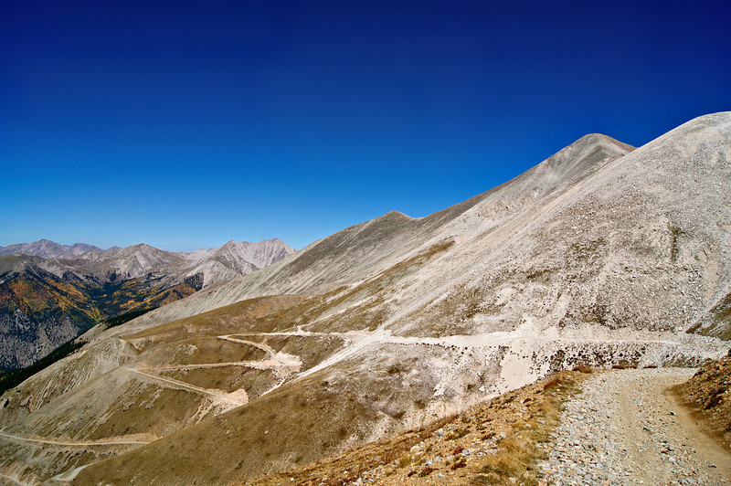 A distinctive trail winds along the west slopes of Mount Antero; Mt. Princeton appears in the background; Colorado Sawatch Range.