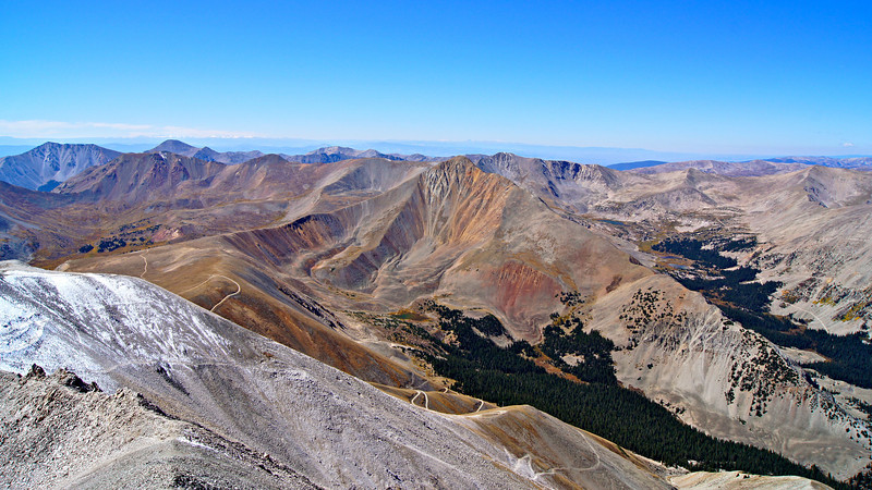 Cronin Peak and remote valleys of the southern Sawatch looking southwest from the summit of Mount Antero; Colorado Sawatch Range.