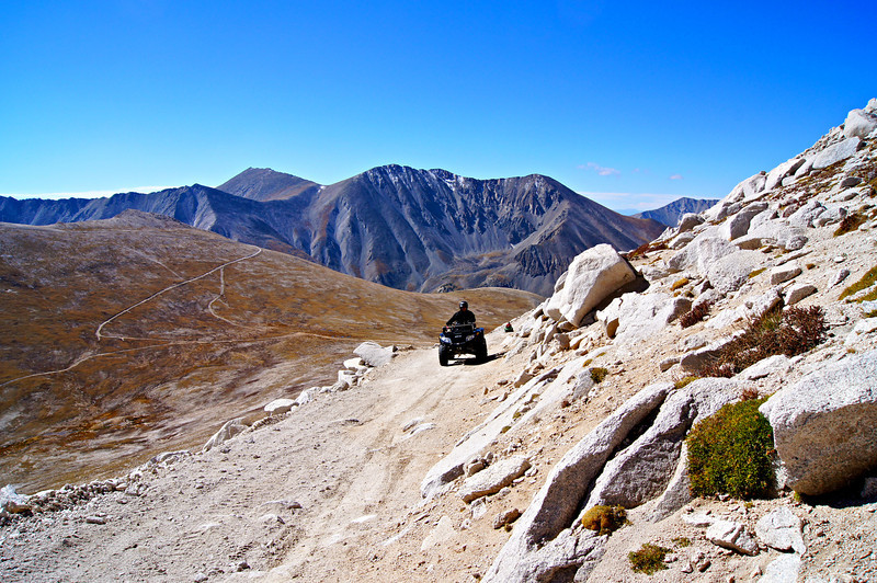The broad trails of Mount Antero make it a popular adventure for ATV enthusiasts; Colorado Sawatch Range.