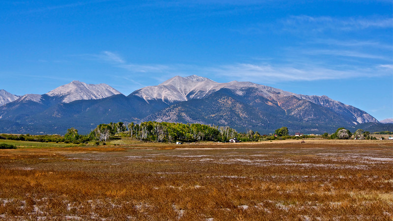 Mount Antero, along with its neighbor, Mount Princeton, towers 7000 feet over the Arkansas valley; Colorado Sawatch Range.
