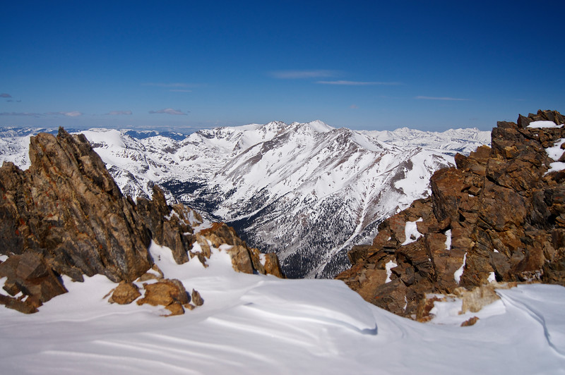 Mount Massive, Holy Cross and the northern Sawatch viewed from just below Elbert's summit, early March.