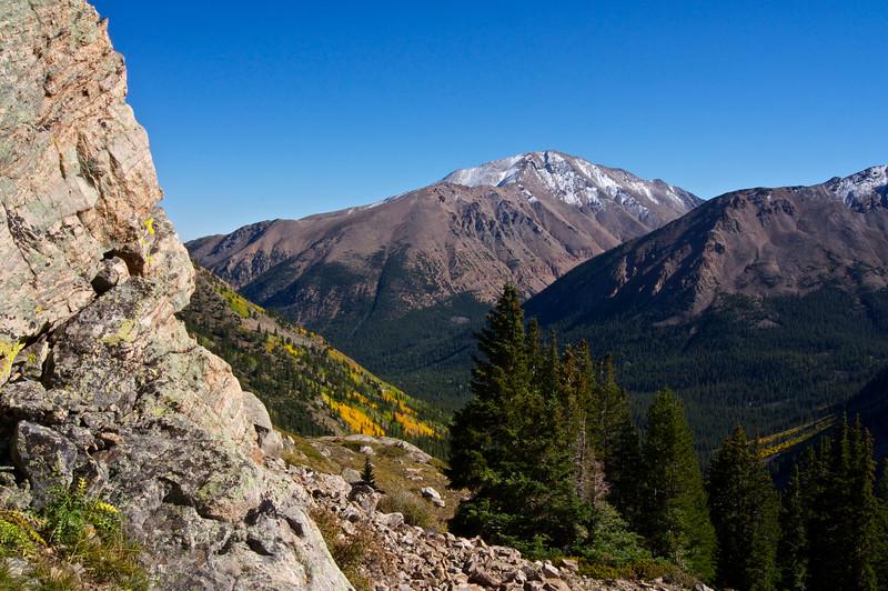 Colorado's highest peak, Mount Elbert (14,440 ft.), viewed from the southwest slopes of Mt. Massive; Colorado Sawatch Range.