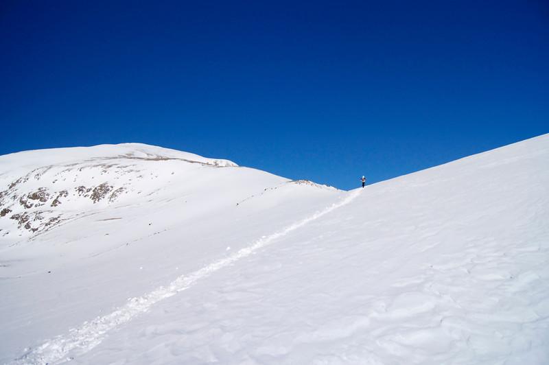 Carol reaches Mt. Elbert's East Ridge at 12,500 feet.