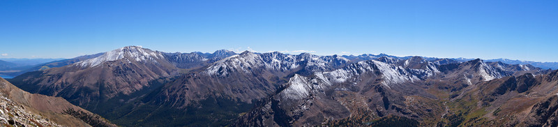 Panoramic view of Mount Elbert and La Plata Peak (left of center) from Mt. Massive's southwest slopes; Colorado Sawatch Range.