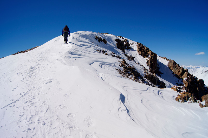 Ascending the final pitch on a winter climb to the summit of Mt. Elbert (14,440 ft.).