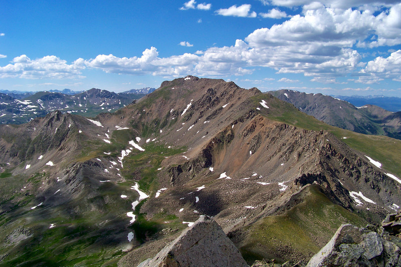 Looking northwest along the ridgecrest from Mt. Columbia to Mt. Harvard, Colorado Sawatch Range