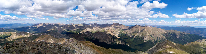 Northern collegiate Peaks (Harvard and Columbia) from the summit of Mt. Yale, Colorado Sawatch Range