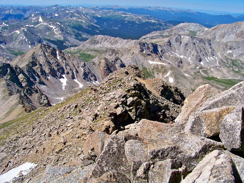 Looking down the northwest ridge from the Mt. Harvard summit, Colorado Sawatch Range