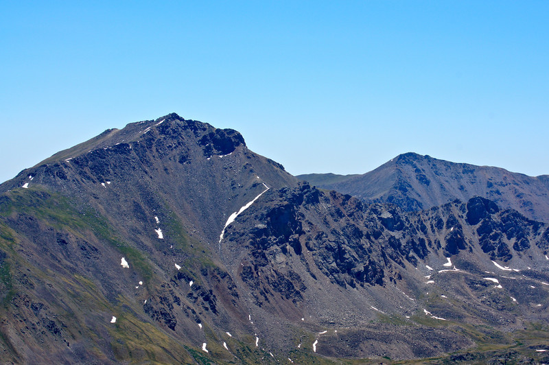 Mount Harvard and Mount Columbia viewed with telephoto lens from the summit of Missouri Mountain to the northwest; Colorado Sawatch Range.