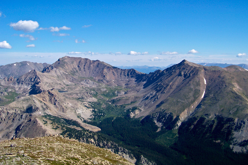 Mount Harvard and Mount Columbia viewed from the summit of Mt. Yale, Colorado Sawatch Range.