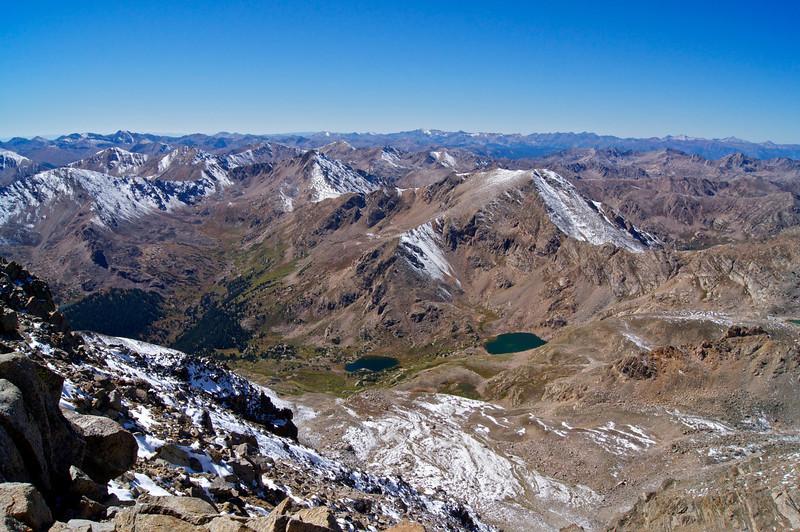 Mount Oklahoma (13,845 ft.) and southwest slopes approach to Mount Massive; Colorado Sawatch Range.