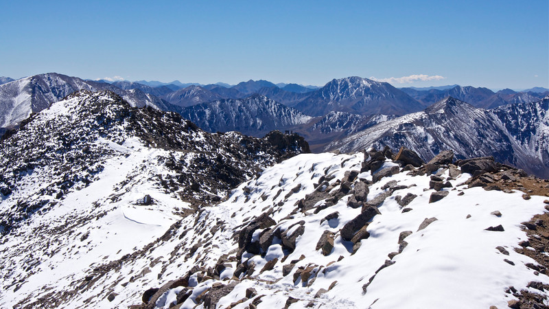 Looking south from Mt. Massive's true summit: Mt. Elbert (far left) and La Plata Peak (center-right); Colorado Sawatch Range.