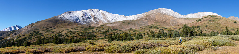 The vast east approach to Mount Massive (far right); Mt. Elbert peaks out on the far left: Colorado Sawatch Range.